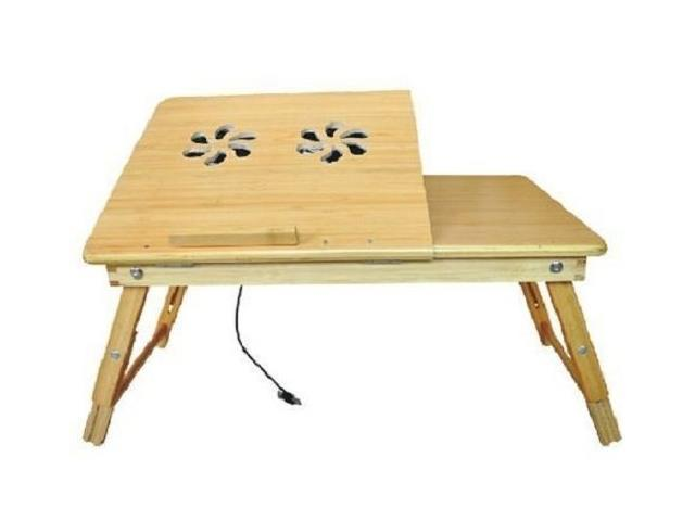 Bamboo Laptop Lap Desk Table Stand N-ew with USB cooling fan Portable