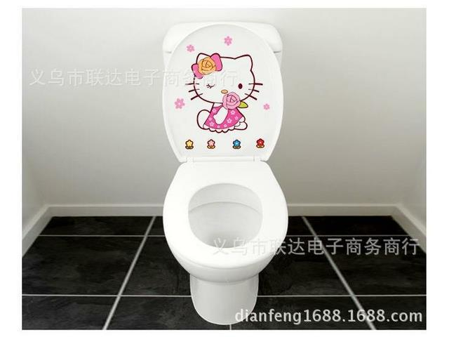 can remove toilet wall stickers korean cartoon funny toilet paste little kitty l 10. Black Bedroom Furniture Sets. Home Design Ideas