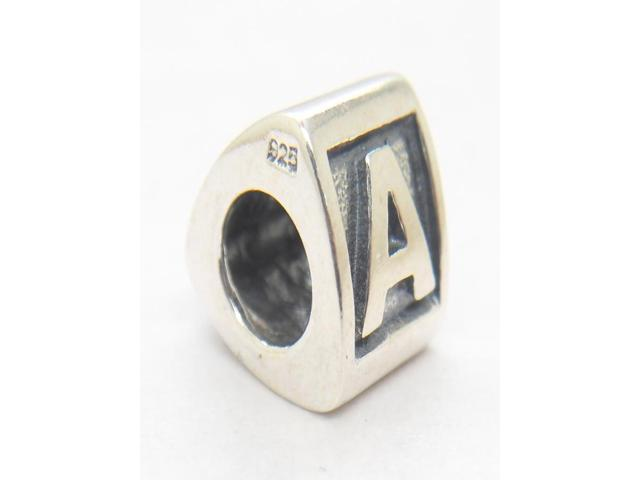 925 Sterling Silver Alphabet A Letter Triangle Charm Beads Fits Pandora Style Jewelry Bracelets & Necklaces