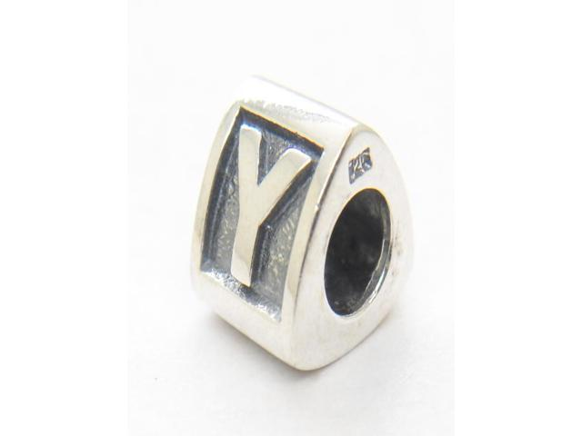 Authentic Genuine Alphabet Y Letter 925 Sterling Silver Core Triangle Charm Beads Compatible with Pandora Jewelry Bracelets