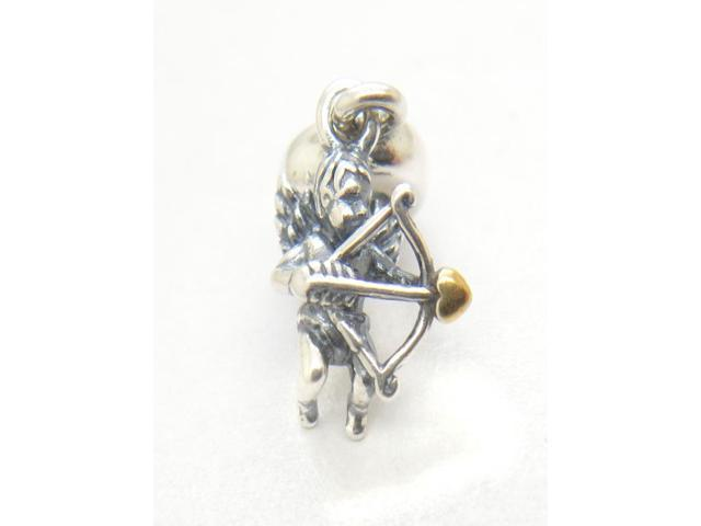 Authentic 925 Sterling Silver Cupid Hanging Charm with 14k Gold Bead For Pandora European Style Bracelets & Necklaces