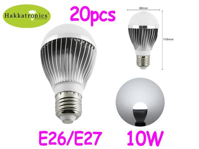 20x10 Watts E27 Led Bulb Lamp Light Ac120v 6000k Cool White A19 Bulb 80w Replacement