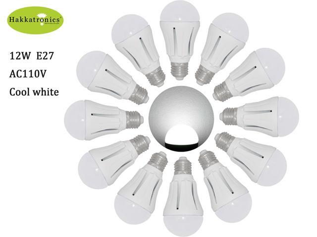 12X 12w Globe LED Light Bulbs Cool White / Daylight 6000K A19/A60 E27 AC85-265V Bathroom Use LED Bulb 100w Equal with 50,000 ...
