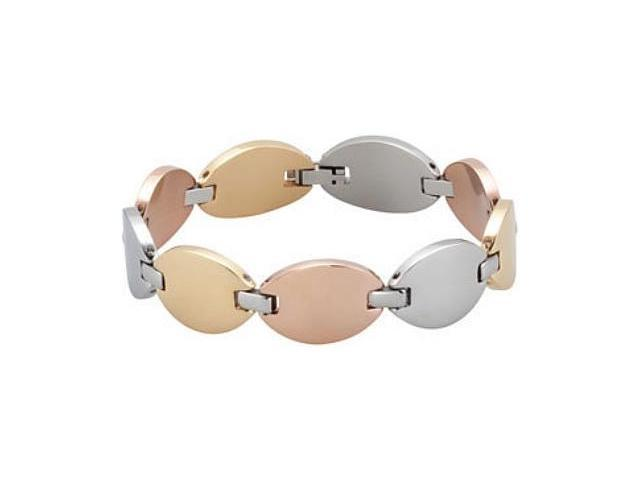 Tri-color Stainless Steel Oval Linked Bracelet
