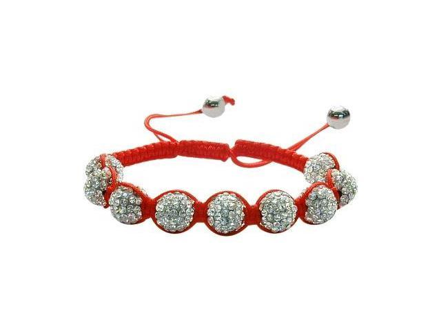 Ladies Red Fibre Cubic Zirconia Ball Bracelet