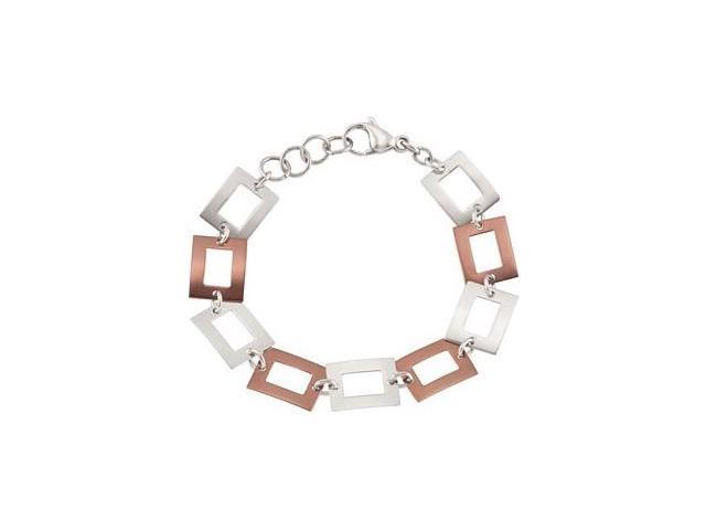 Chocolate Plated Stainless Steel Square Link Bracelet