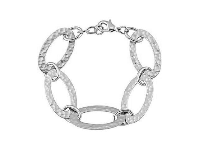 Hammered Stainless Steel Oval Link Bracelet