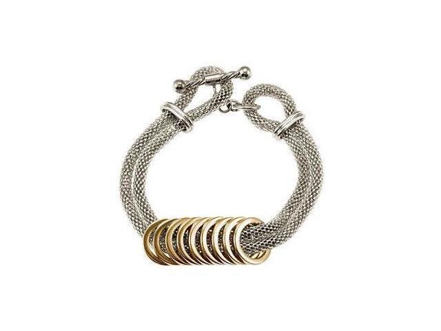Two-Tone Stainless Steel Mesh Bracelet