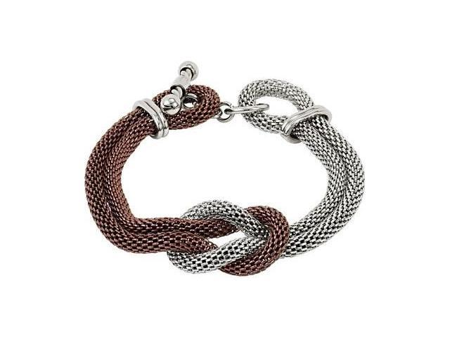 Stainless Steel Chocolate Plated and Mesh Bracelet