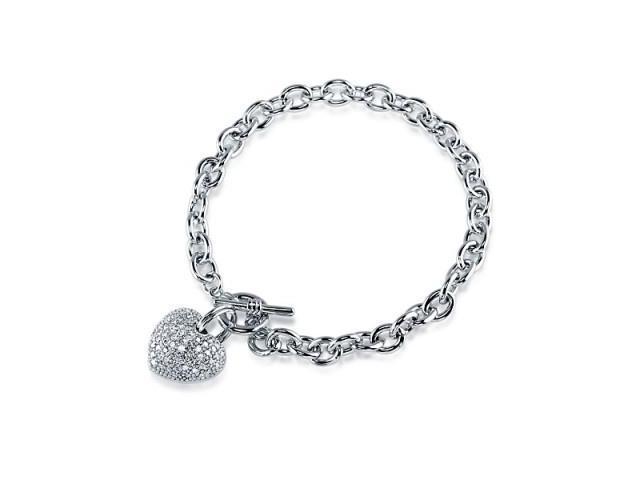 Ladies Pave Set 3D Heart Toggle Bracelet