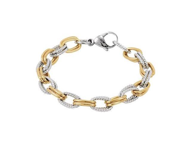 Two-Tone Gold Plated Stainless Steel Link Bracelet