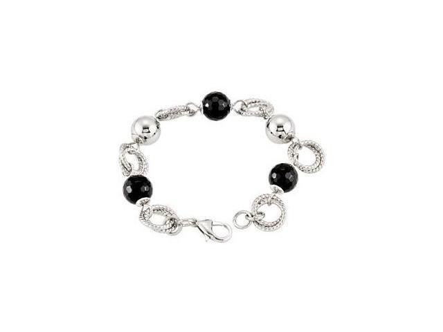 Stainless Steel Onyx & Mirror Ball Bracelet