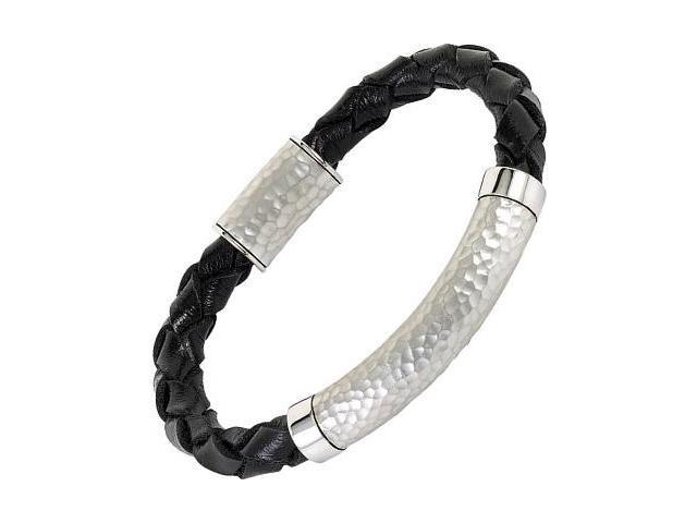 Woven Leather & Hammered Sterling Silver Bracelet