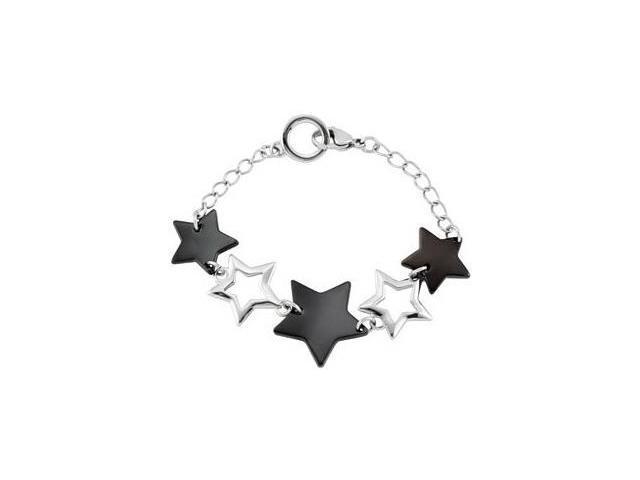 Black Plated Stainless Steel Star Link Bracelet