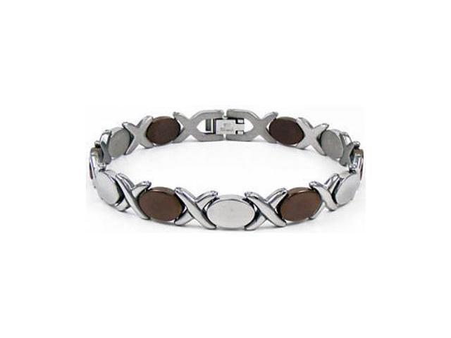 Chocolate Plated Stainless Steel X & O Bracelet
