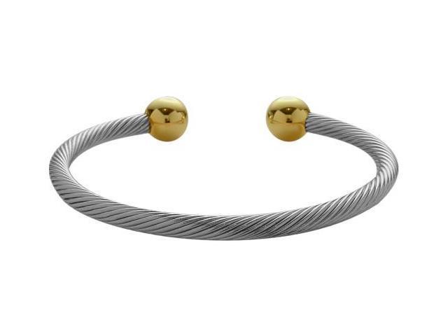 Two-Tone Steel Magnetic Bangle Style Bracelet