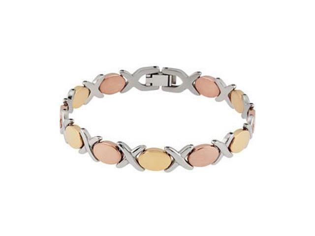 Tri-color Stainless Steel X & O Bracelet