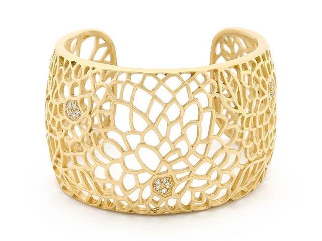 2 Inch Wide 14 Karat Gold Bonded Matte Finish Floral Crystal Bangle