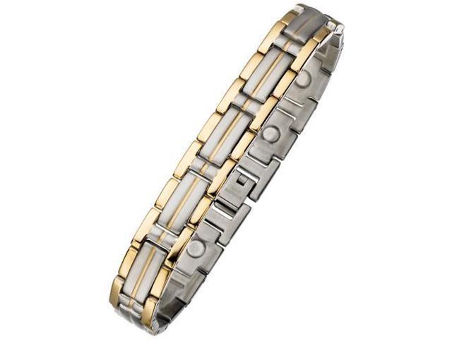 11mm Designer Magnetic Two-Tone Steel Men's Bracelet