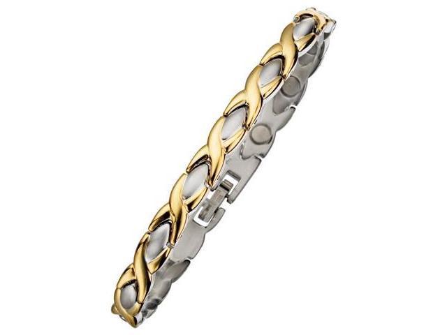 7mm Designer Two-Tone Steel Magnetic Men's Bracelet