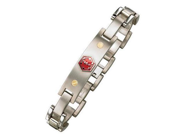 Men's Adjustable Titanium & 18 Karat Yellow Gold Medical ID Bracelet