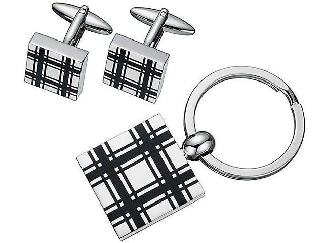 Men's Steel Square Cufflinks & Key Chain Set