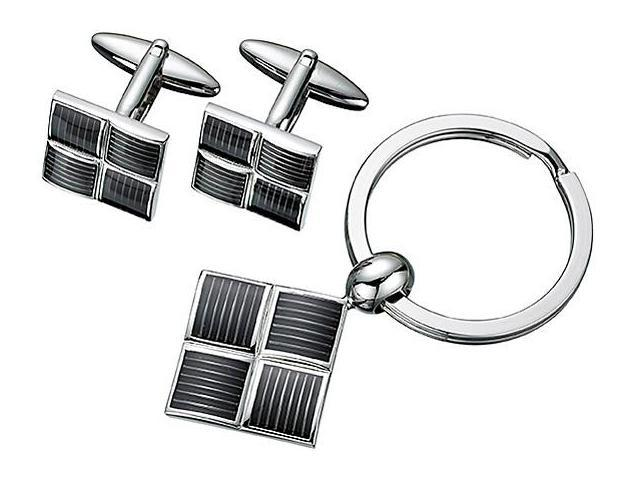 Men's Steel Cufflinks & Key Chain Set