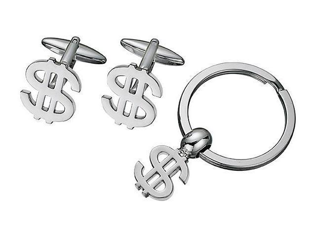 Men's Steel Money Sign Cufflinks & Key Chain Set