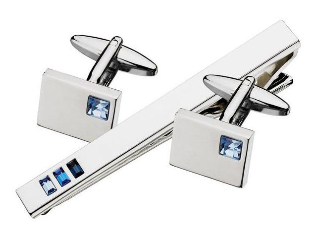 Men's Steel & Crystal Cufflinks & Tie Pin Set