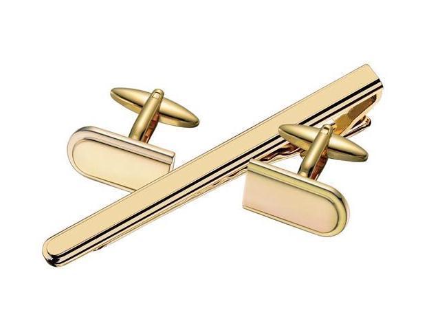 Men's Gold Plated Steel Cufflinks & Tie Pin  Set