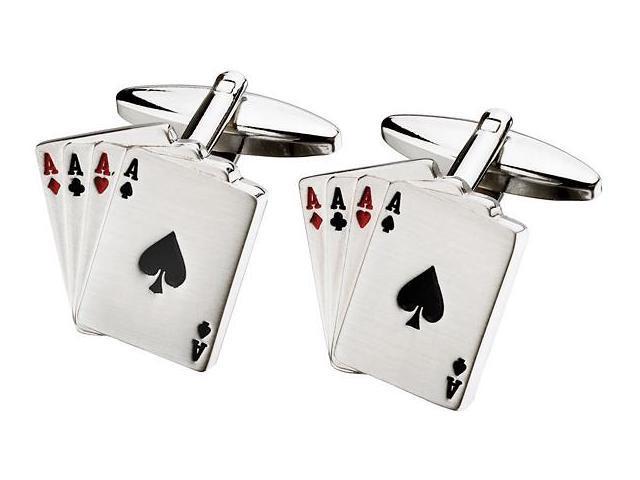 Men's Four Ace Steel Cufflinks