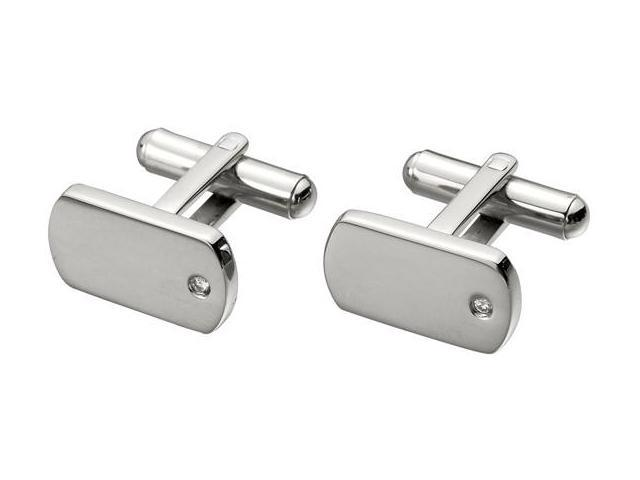 Men's Steel & Cubic Zirconia High Polish Cufflinks