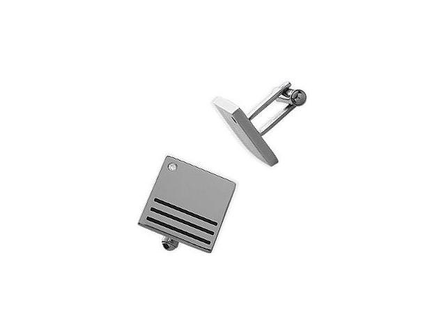 Men's Cubic Zirconia & Steel High Polish Cufflinks