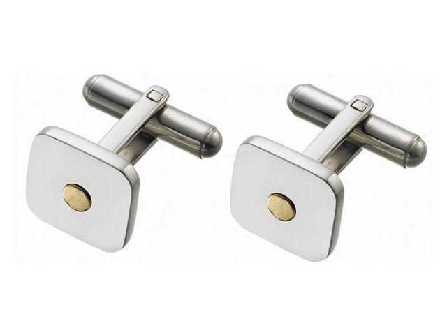 Men's High Polish Steel & 18 Karat Cufflinks