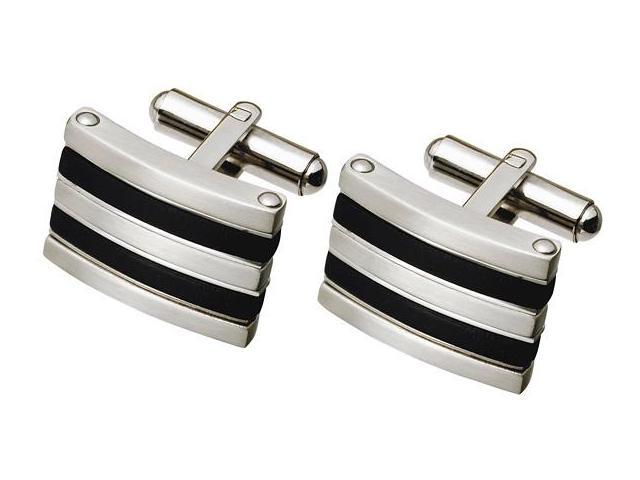 Men's Stainless Steel and Rubber Cufflinks