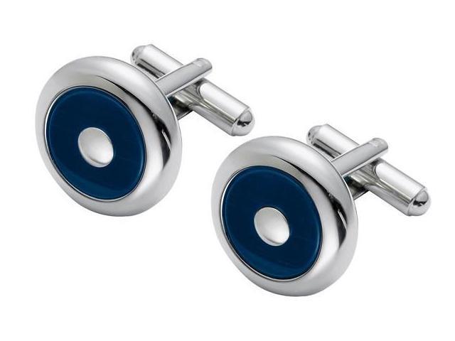 Men's Steel & Navy Blue Cat Eye Cufflinks