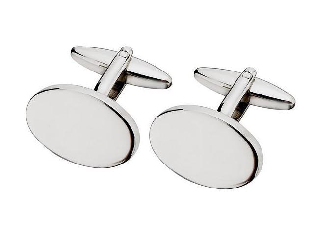 Men's Steel High Polish Oval Cufflinks