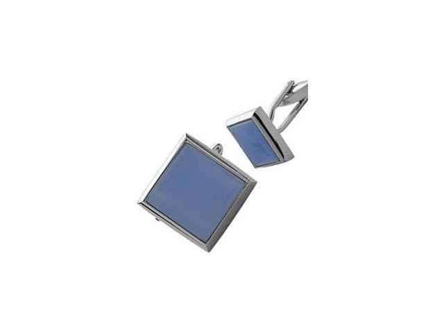 Men's Steel & Blue Cat Eye Cufflinks