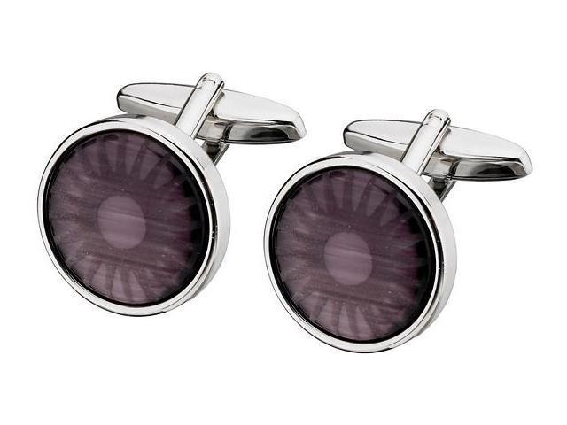 Men's Steel & Purple Cat Eye Cufflinks
