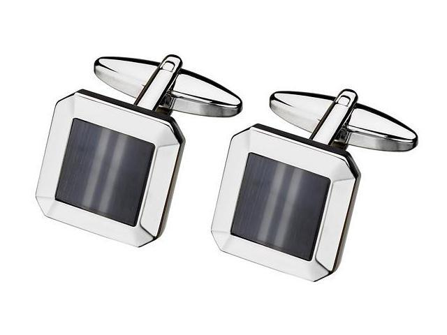 Men's Steel & Grey Cat Eye Cufflinks