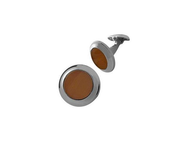 Men's Steel & Brown Cat Eye Cufflinks
