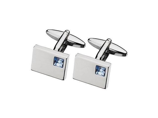 Men's Blue Topaz Cubic Zirconia Steel Cufflinks