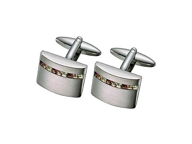 Stainless Steel Swarovski Crystal Cufflinks