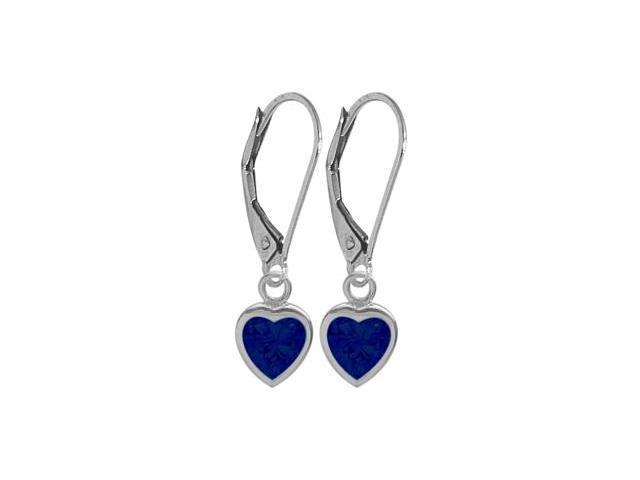 September 2.00 Carat Created Sapphire White 14 Karat Gold Heart Leverback Earrings