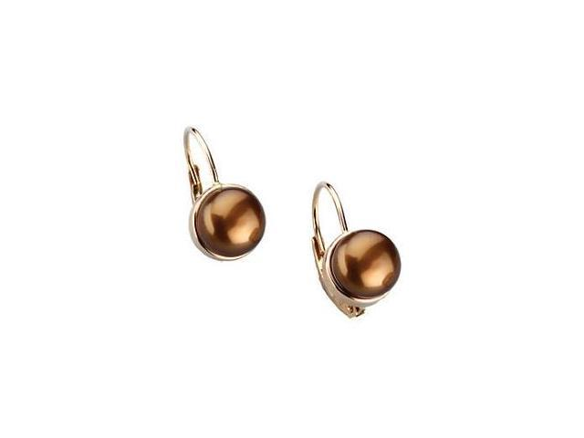 14 Karat Yellow Gold Dyed Chocolate Pearl Earrings
