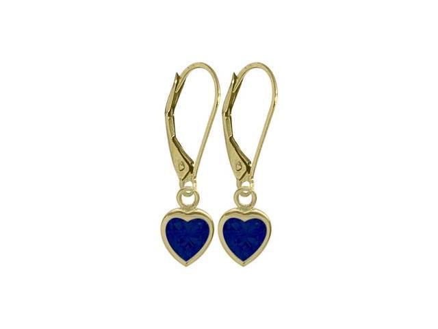 September 2.00 Carat Created Sapphire Yellow 14 Karat Gold Heart Leverback Earrings