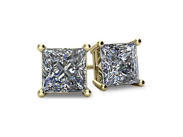 1.00tcw 14 Karat Yellow Gold Screwback Princess Cut Certified Diamond Earrings