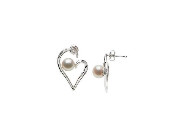 Genuine Sterling Silver Pearl Heart Earrings