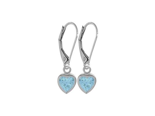 December 1.80 Carat Genuine Blue Topaz White 14 Karat Gold Heart Leverback Earrings