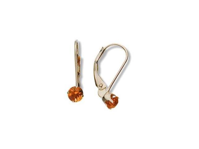 November 10 Karat Yellow Gold Genuine 0.40tcw. 4mm Citrine Leverback Gem Earrings
